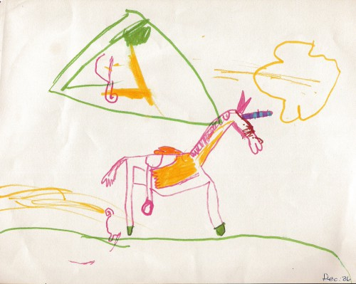 A unicorn with a saddle.  Age 4.