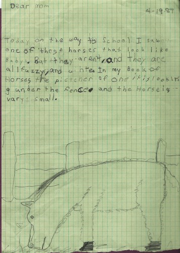 A drawing and letter/story about a miniature horse, age 6.