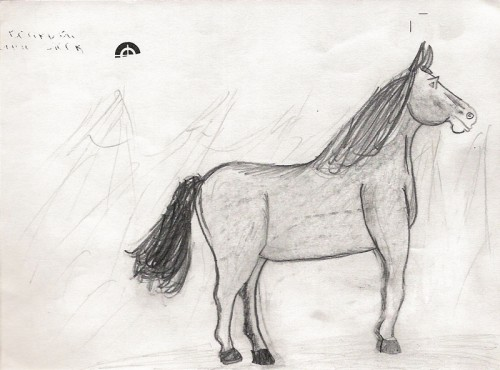 Horse drawing, age 8.