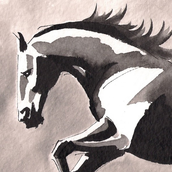 cantering watercolor