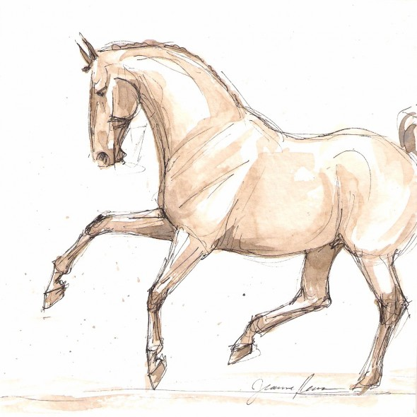 Watercolor and ink sketch in shades of brown of a warmblood dressage horse performing a dramatic flying lead change.