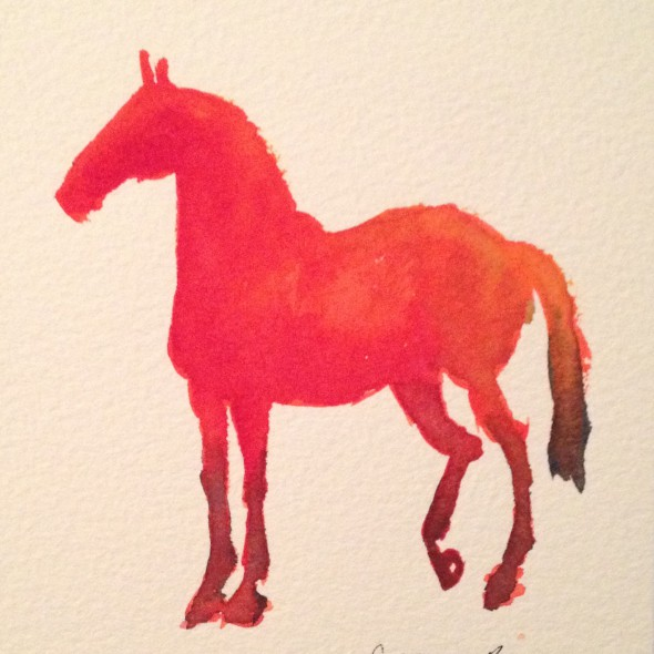 Original watercolor painting of a bright red horse (5 x 6 inches).