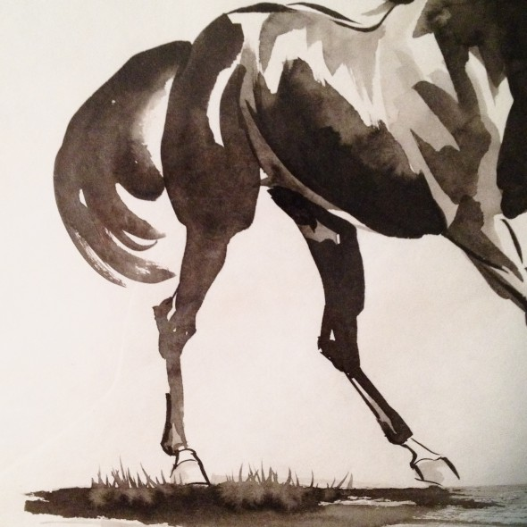 Close up of galloping horse Chinese watercolor painting.