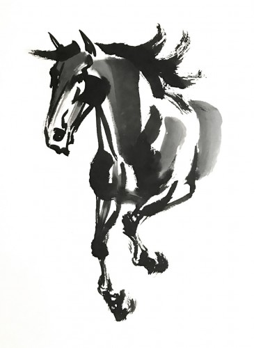 Original Chinese Watercolor painting of a proud, charging horse.