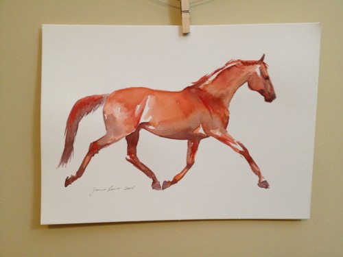 Original watercolor painting of a muscular red horse at a bold trot.