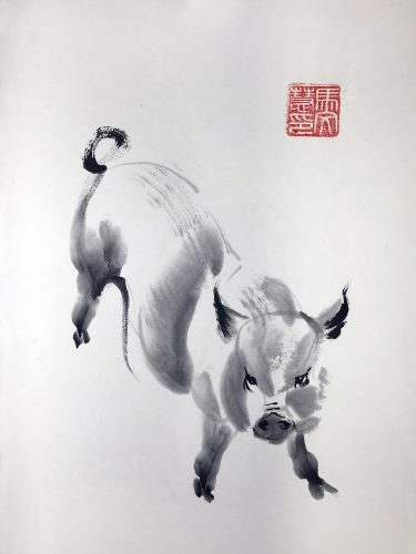 Chinese brush painting of a pig