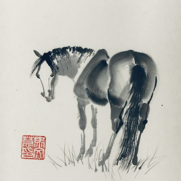 Chinese brush painting of a horse bending its head to look back at you