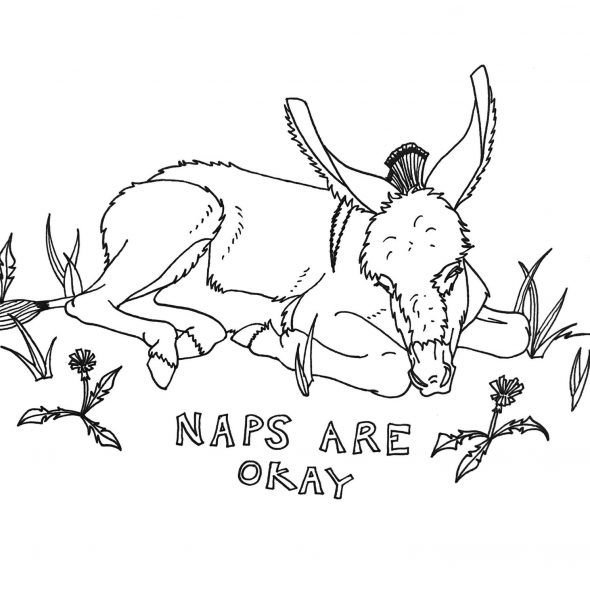 """Coloring book page of a baby donkey napping in dandelions and grass. It says """"naps are okay"""""""