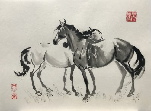 Chinese brush painting of two horses grooming each other