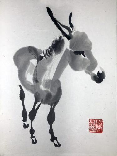 Chinese brush painting of a fuzzy donkey