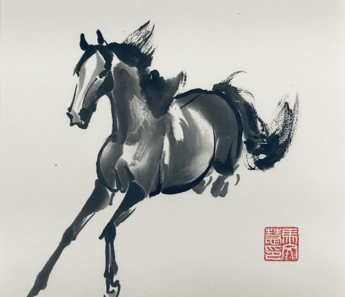 Chinese brush painting of a horse jumping