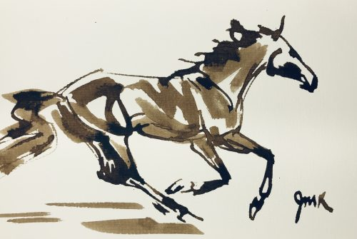 Loose brown ink sketch of a galloping horse