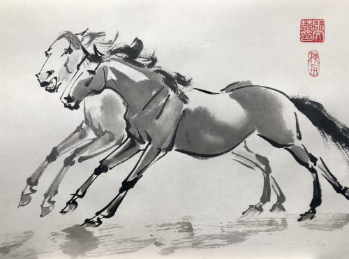 Chinese brush painting of two horses galloping side by side