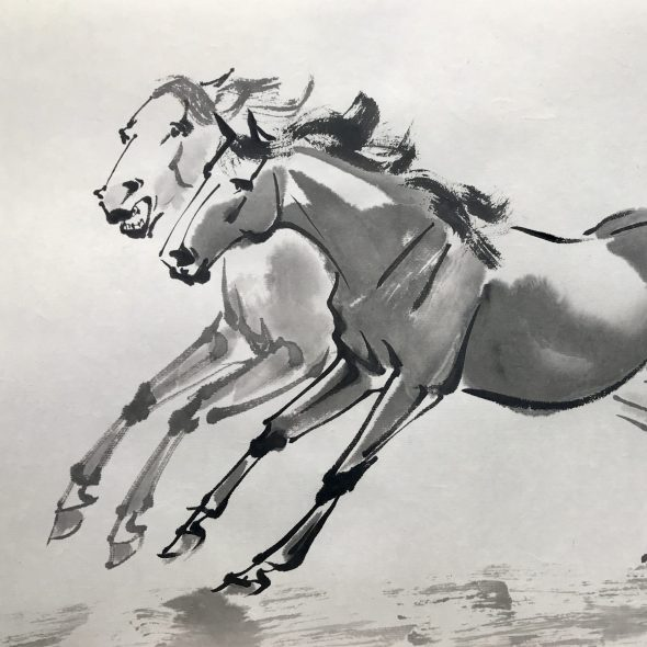 Chinese brush painting of two horses galloping together