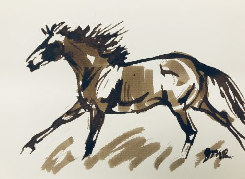 Brown ink loose sketch of a horse cantering in tall grass