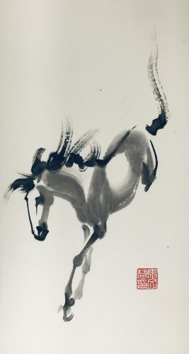 Chinese brush painting of a horse leaping