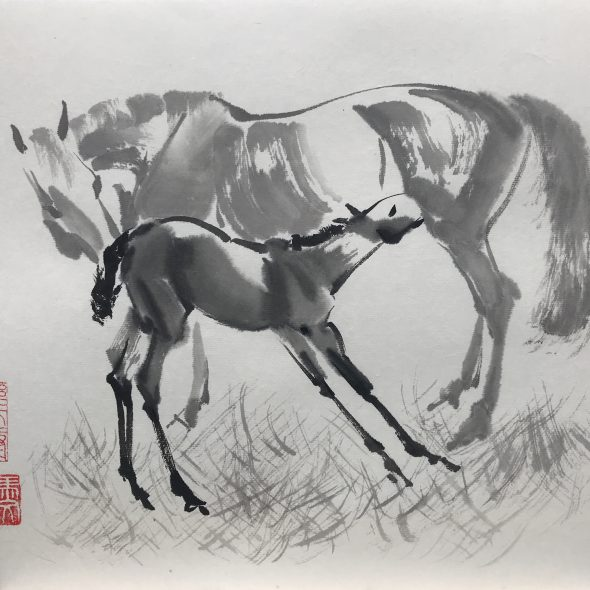 Chinese brush painting of a mare and foal