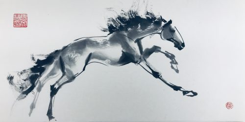 Chinese brush painting of a horse making a flying lunge while galloping, wild mane and tail flying.
