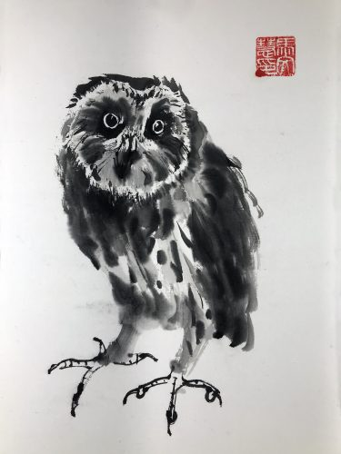 Chinese brush painting of an owl