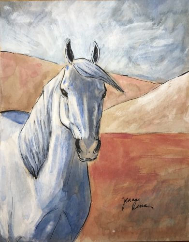 Watercolor and ink painting of a white horse inspired by the style of Picasso's rose period