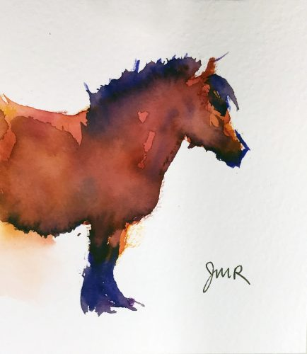 Bright watercolor painting of a fuzzy red bay pony's forequarters.