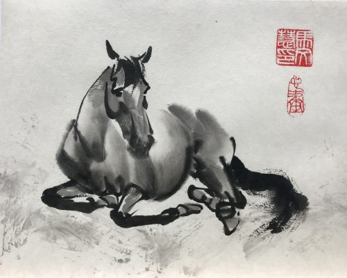 Chinese brush painting of a horse laying down at rest
