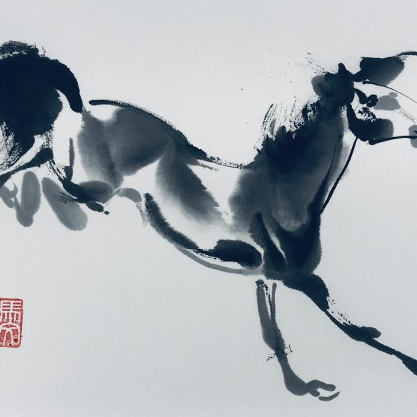 Chinese brush painting of a horse bucking energetically