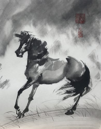 Chinese brush painting of a horse with windswept mane and tail, stormy skies