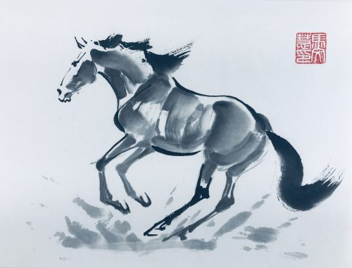 Chinese brush painting of a horse
