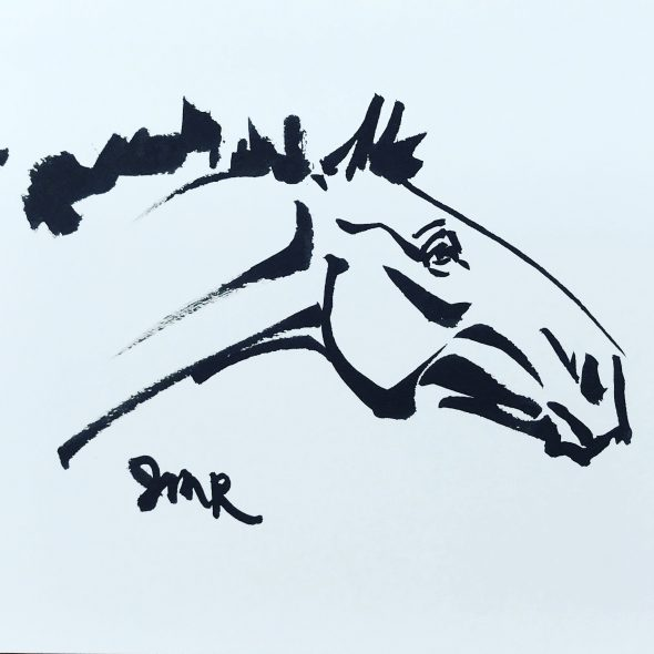 Black ink sketch of a draft horse's head