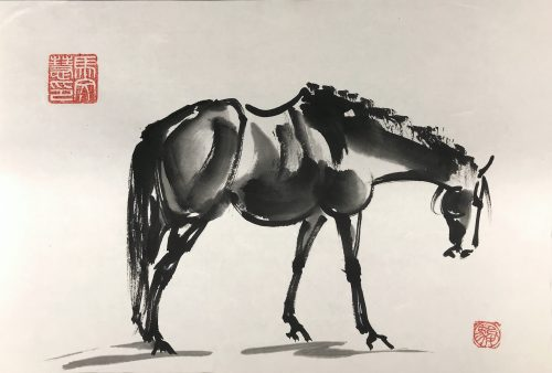 Chinese brush painting of a horse standing with a hanging head